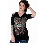 Women's Biker T-Shirts: Devilish Bling