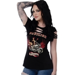Women's Biker T-Shirts: Devilish Vixen Bling, Liberty Wear