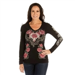 Women's Liberty Wear T-Shirts: L/S Bling Rose