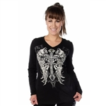Black Souls Celtic Cross Long Sleeve Shirt, Liberty Wear Tops