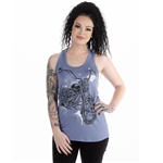 Women's Biker T-Shirts: Bling Motorcycle Twisted Tank Top, Liberty Wear