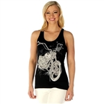 Women's Biker T-Shirts: Bling Motorcycle Tank Top