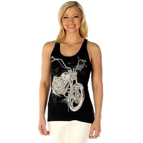 7463509073ac57 Ladies Bling Motorcycle Biker Shirt
