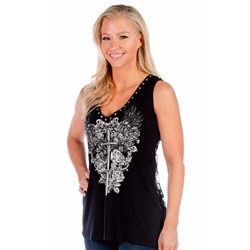 Bling Plunging Dagger Tank Top, Liberty Wear