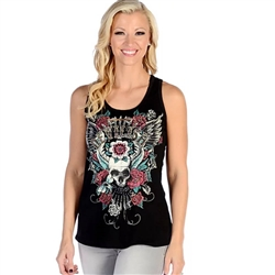 Bling Devilish Lace Tank Top, Skull & Roses
