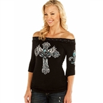 Liberty Wear Shirts: Fleur De Lis Off Shoulder Studded