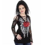 Women's Liberty Wear T-Shirts: Rockstar 2.0 Lace Red Rose