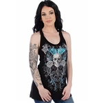Bling Blue Roses & Skulls Tank Top, Liberty Wear