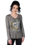 Brave Skull Studded Long Sleeve Shirt, Liberty Wear