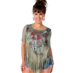 Fringe Handkerchief Hem Embellished Boho Shirt by Liberty Wear