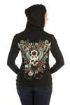Devilish Bling Ladies Hoodie: Rhinestones Liberty Wear