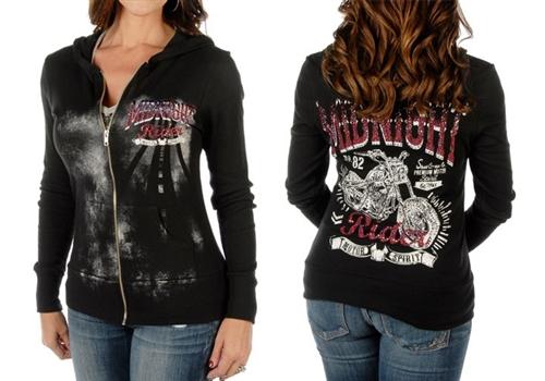 American Made Ladies Biker Hoodie Rider Leather Bound