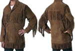 Mens Brown Suede Fringe Jacket
