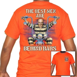 Men's Biker T-Shirts: Orange Behind Bars Motorcycle