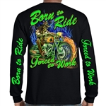 Men's Biker Shirts: Born 2 Ride Skull Tee
