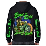 Biker Clothes: Born to ride zip up hoodie