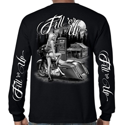 Men's Biker Shirts: Motorcycle Babe Long Sleeve