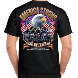 Mens Biker T-Shirts: America Strong United We Stand