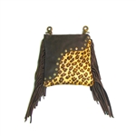 Leopard Fringe Leather Hip Purse: USA Made