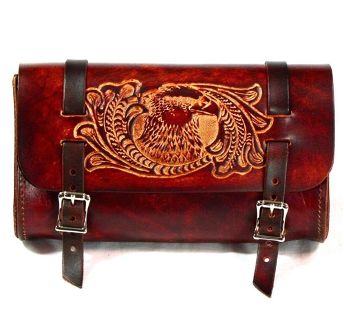 Genuine Leather Vintage Motorcycle 2 Strap Buckle Closure Tool Bag Brown