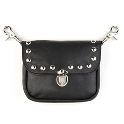 Studded Biker Leather Hip Purse: USA Made