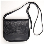 Embossed Floral Leather Cross Body Bag: American Made