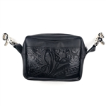 Embossed Floral Leather Hip Bag: USA Made