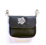 Embroidered Rose Leather Clip Bag: USA Made