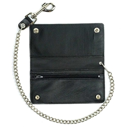 USA Made Bi-Fold Leather Biker Chain Wallets
