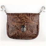 Embossed Floral Leather Clip Bag: USA Made