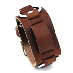 Replacement Brown Leather Wide cuff Watch Band