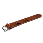 Wide Brown Leather Watch Band: USA Made