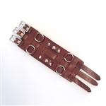 Brown Leather Wide Watch Band: 3 Straps
