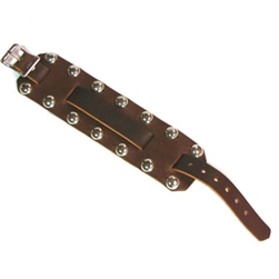 Studded Leather Wide Watch Band: Brown Cowhide