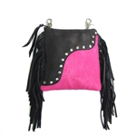 Leather Fringe & Pink Fur Hip Clip Bag