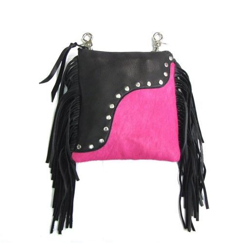 Pink Fur Amp Fringe Leather Clip Bag Usa Made Biker