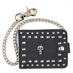 Skull Studded Billfold Leather Chain Wallet Made in USA