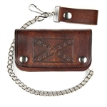 Antique Brown Leather Chain Wallet: Rebel Flag