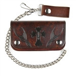 Antique Brown Leather Chain Wallet: Cross w/ Fleur De Lys