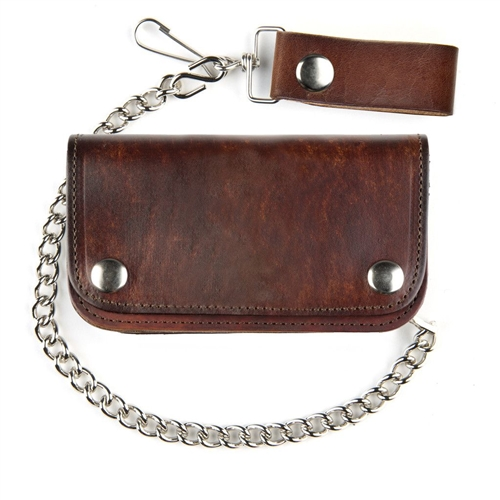 89e2ebbc7801 Antique Brown Leather Biker Chain Wallet 6-Inch USA Made