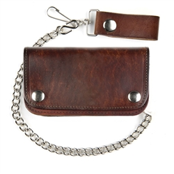 Antique Brown Leather Chain Wallet