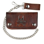 Antique Brown Leather Biker Chain Wallets:Skull & Bones