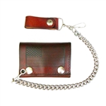 Antique Brown Leather Chain Wallet: USA FLag