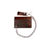 Antique Brown Leather Chain Wallet: Confederate Flag