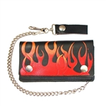 Flaming Leather Chain Wallet: Bi-Fold