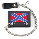 Confederate Leather Chain Wallet: Embroidered Tri Fold