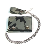 Camo Print Leather Biker Chain Wallet: Tri-Fold