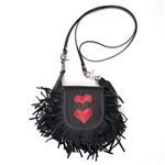 Black USA Leather Fringe Clip Bag