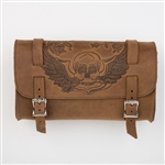 Skull Leather Brown Motorcycle Tool Bag