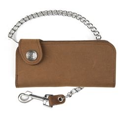 Distressed Brown Leather Chain Wallets: Buffalo